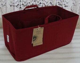 Fits Neverfull GM /Purse-Diaper Bag Organizer Shaper/ 14.5x7x7H / BURGUNDY / Stiff wipe-clean bottom, handles & 2 bottle loops/Ready to ship