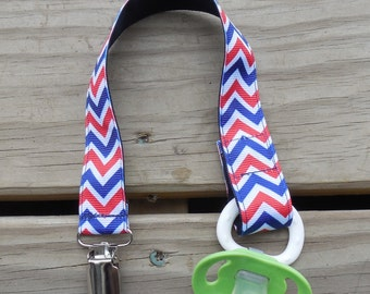 Red White and Blue Chevron Gender Neutral Pacifier Holder Binky Clip Toy Clip