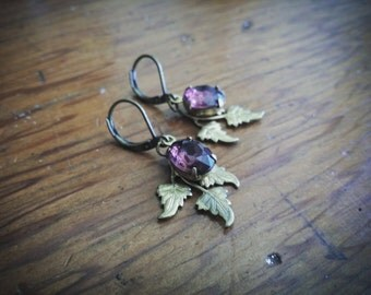 Amethyst Jewel & Leaf Earrings // Raw Brass Leaves // Purple Rhinestones // Vintage Glass Crystals // Dangle Earrings // For Forest Faeries