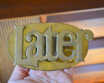 vintage brass later mail clip / vintage office decor / desk accessory / hipster / brass metal