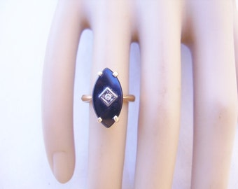 Vintage Art Deco Baden & Foss 14k Yellow Gold Onyx/diamond Ring