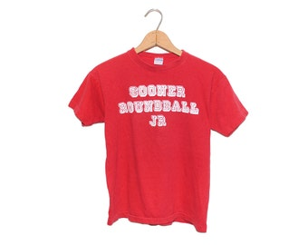 Vintage 70's Blue Bar Champion Oklahoma Sooner Roundball JR. College Crewneck T-Shirt Made in USA - Medium
