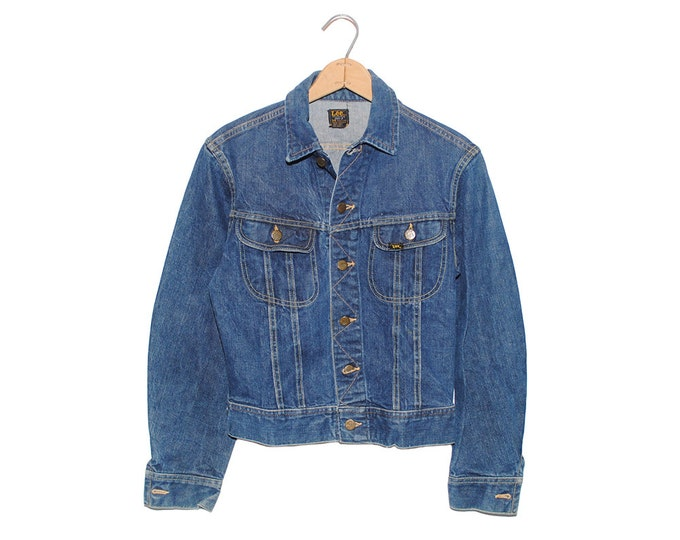 Vintage Lee Jean Jacket 101-J Sanforized Denim Union Made in USA - 34 Regular (OS-DJ-16)