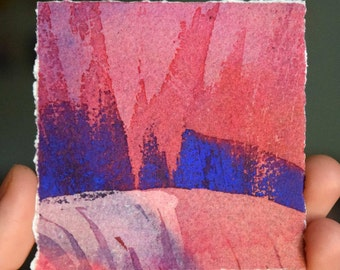 Original Watercolor Painting Red and Blue Abstract