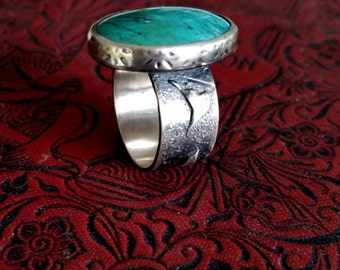 Unique Handmade Silver Jewelry, Argentium Sterling Silver Ring, Fused , Textured, Oxidized, Turquoise, Rustic Jewelry,  Size 8 .