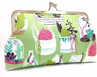 clutch purse - succulence - 8 inch metal frame clutch purse -succulent- cactus - green - terrarium - kisslock purse