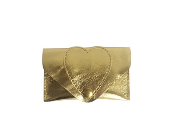 Gold metallic leather card case / Wallet / leather case / heart / hearts / business card case / card holder / leather purse / kitty