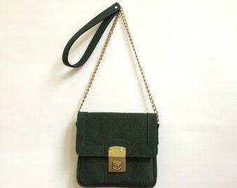Forest green Leather Bag, Square bag, handmade,  shoulder bag, Ladies bag, Purse, Gold lock