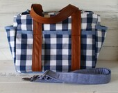 Blue and White Ginghman Plaid Ultimate Diaper Bag