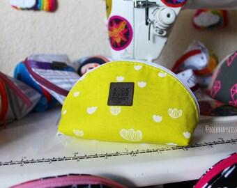 Neon Printshop Dumpling pouch with rainbow polka dot lining | Zipper pouch | Travel pouch | Small zipper pouch