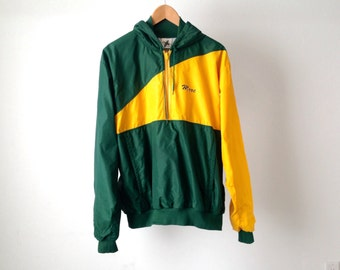 vintage 70s 80s TRACK swimming and diving yellow & GREEN hoodie nylon zip up JACKET