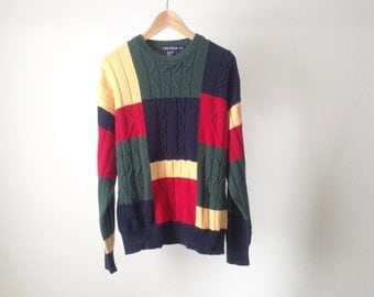 MEN's vintage GRUNGE color block fresh prince seinfeld 80s 90s TWIN peaks thick knit sweater
