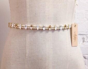 Skinny Swarovski Crystal Bridal Belt- Modern Bridal Belt- Crystal and Pearl Bridal Sash