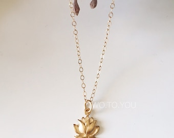 Lotus Lily - 24kt Gold Plated Sterling Silver Necklace - Insurance included in ALL domestic shipping!