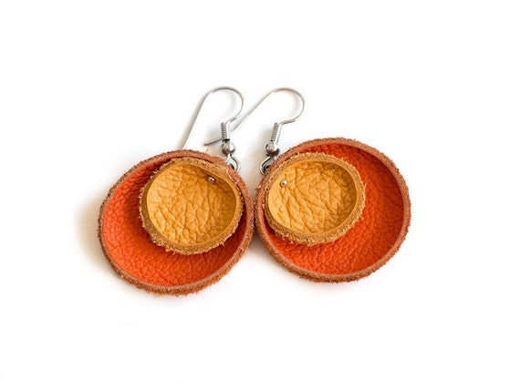 Orange and tangerine leather circle earrings SALE