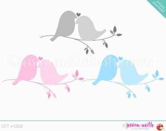 Instant Download Love Doves Cute Digital Clipart, Love Birds Clip art, Bridal Birds Graphics, Love Bird Illustration, #1068