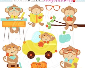 SALE Classroom Boy Monkeys Cute Digital Clipart - Commercial Use OK - Monkey School Clip Art - Classroom School Graphics