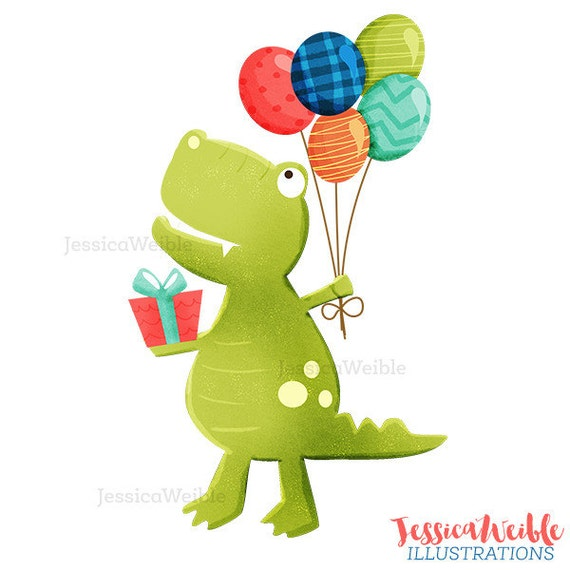 Happy Birthday TRex Cute Digital Clipart Birthday Clip art