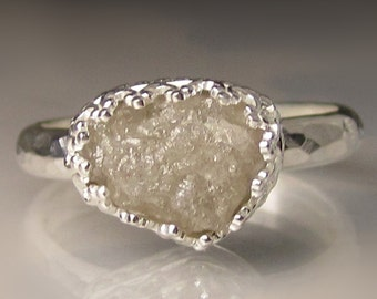 Raw Diamond Engagement Ring, Rough Diamond Ring - 3.6 Carats