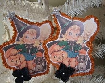 Halloween ornament glittered paper art  vintage halloween card scrap cute little girl witch black cats witch pumpkins halloween paper decor