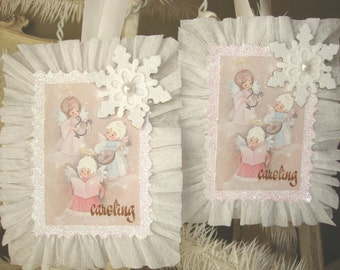 Vintage Christmas card paper ornament Pink and white carolers Christmas gift tag glittered pink white Shabby Chic Christmas ornament decor