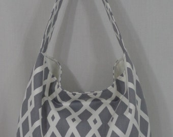 Medium Slouch BAG, Slouchy Shoulder Purse, Hobo, Spring Summer Sling BAG, Grey and White Purse