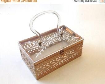 SummerS SALE Vintage Bag 50s Lucite Box Purse | Lucite Brass Floral Clutch | Evening Bag