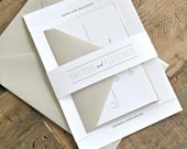 Trisha Wedding Invitation Suite with Belly Band - White, Beige and Charcoal (text + colors are customizable)