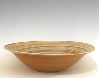Hand thrown blue stoneware salad bowl