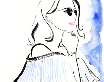 Watercolour fashion illustration Titled Festival Season