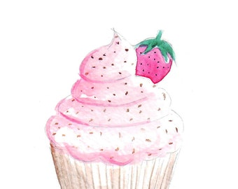Watercolour illustration Titled Fluffy Cupcake