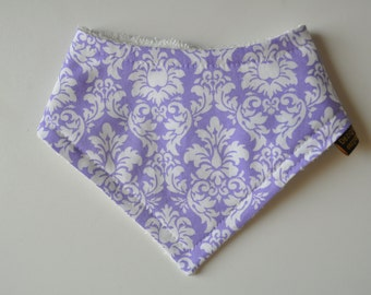 Baby Girl Bandana Terry Cloth Snap Bib in Purple Damask Small Size 0-6 months