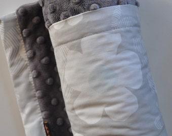 Baby Girl Blanket, X LARGE, Snuggle Size, Organic Large Grey and Aqua Daisy Flowers