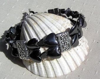 "Black Hematite Crystal Gemstone Heart Cuff Bracelet ""Black Beauty"", Chakra Bracelet, Black Bracelet, Beaded Bracelet, Hematite Heart, Silver"