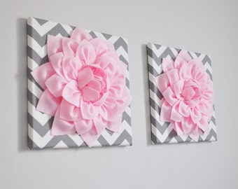 "TWO Wall Flowers -Light Pink Dahlia on Gray and White Chevron 12 x12"" Canvas Wall Art- Baby Nursery Wall Decor-"