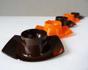 1970's vintage space age plastic eggcups