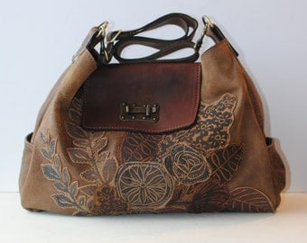 Leather Travel Tote, hobo bag, large, brown, Floral Appliqué