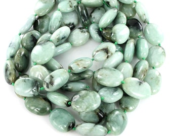 Jade Large Oval Beads Celadon Green #2