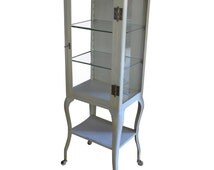 Apothecary Dental Medical Steel and Glass Antique Cabinet with Cabriole Legs
