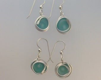 Sea Glass Wrap Earrings