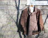 Rustic Brown & Black Melange Long Mens Womens Scarf Spring Fall Winter Woodland Cabin City Fashion Accessory, Artisan Handwoven
