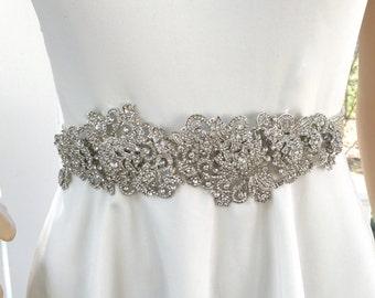 Rhinestone Bridal Sash, Wedding Gown Belt, Crystal  Rhinestone Belt, Wedding Gown Accessory, Art Deco Gown, Art Deco Accessory