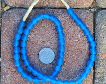 Ghana Glass Beads: Bright Blue 10mm