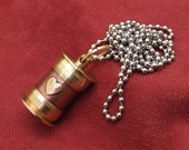 Cremation jewelry, copper and brass ashes necklace