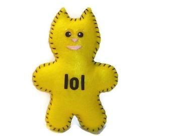 lol cat plush stuffed animal happy yellow plush laugh out loud gift