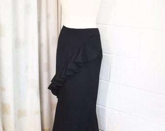 Spiral cut skirt with flounce