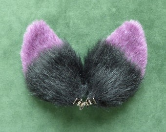 Purple Black and Gray Fur Ears Fox Cat Wolf Dog Clips Halloween Costume Cosplay Lolita Goth