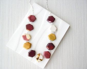 Hexagon Stone Necklace, Mookaite Jasper Jewelry, Mustard Yellow, Geometric, Pink, Maroon, Wine, White, Silver, Multicolor, Multi Color
