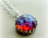 Ready to Ship Dragons Breath Opal Glass Necklace Fire Opal Necklace Romantic Gifts Fire Opal Jewelry Anniversary Gift Ready to Ship