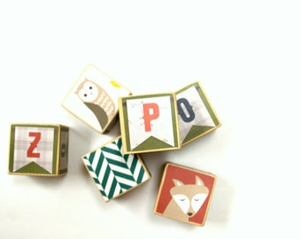 Alphabet Wood Building Blocks, Owl, Fox, Deer,  Personalized set of 6 , Wooden Blocks, Nursery, Baby's Room, Customize, Learning blocks